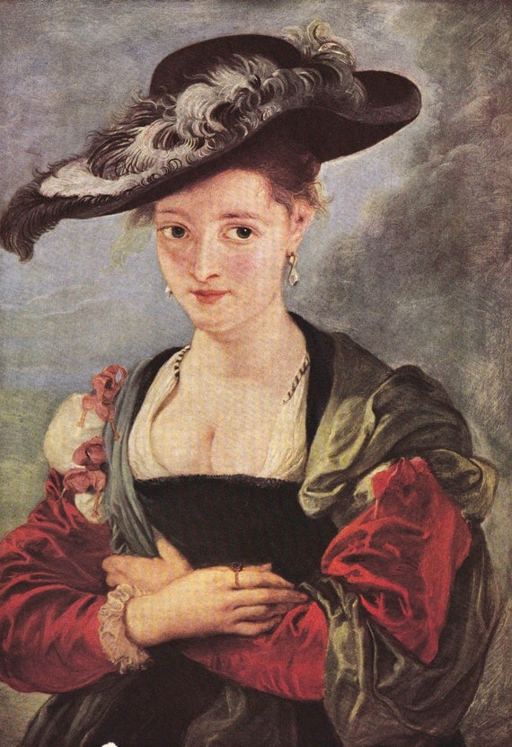 1939 print of Le Chapeau de Poil by Peter Paul Rubens (1577 - 1640), Flemish, published in World Famous Paintings, semi gloss print