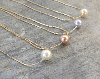 Bridesmaid necklace Gold Pearl necklace Bridesmaid jewelry Dainty pearl necklace Floating pearl Single pearl bridal jewelry Bridesmaid gift