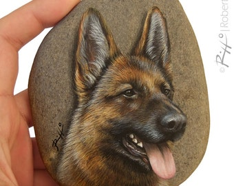 A German Shepherd Dog's Face Painted On a Flat Sea Rock | Hand Painted Stunning Stone Art by Roberto Rizzo