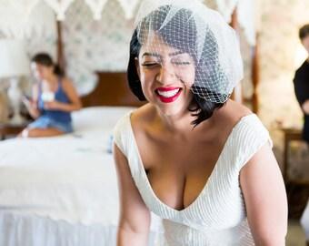 Full Double layer bandeau birdcage veil - Bandeau Veil, Birdcage Veil, Wedding Veil, Bridal Veil, Russian Veil Tulle Veil, Bird Cage Veil