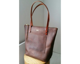 Zippered Large Tote Bag - Henna Brown Oil Tanned Leather