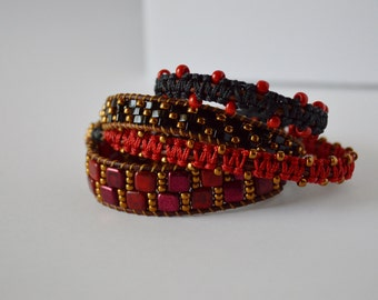 Red, black, and bronze beaded wrap bracelet