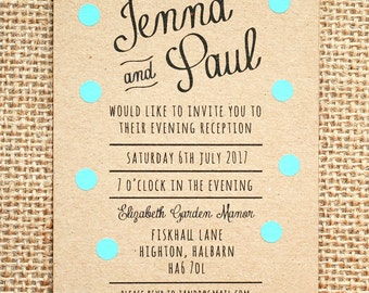 Pastel Turquoise Polka Dot Evening Wedding Invitation - Rustic Kraft