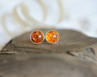 Little amber stud earrings, honey natural baltic amber studs, sterling silver and amber dot post earrings, small little amber stone earrings