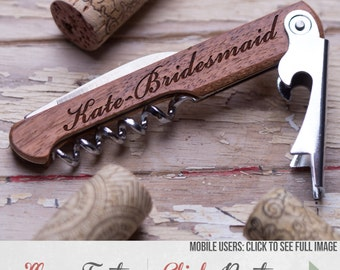 Personalized Wine Opener, Corkscrew, Wine Key, Bridesmaid gift, gift for her, custom wood wine opener, wedding party gifts