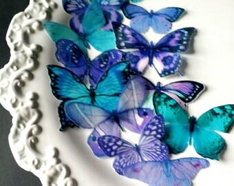 Edible Sugarbutterflies© Blue-Teal Purple Edible Cake-Cupcake Toppers,12