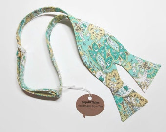 Freestyle Seafoam Paisley Bow Tie - Green and Yellow Paisley Bow Tie - Self-Tie Bow Tie - Mint and Yellow Bow Tie - Mint Paisley Bow Tie