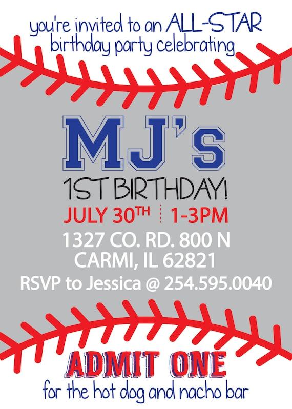 Baseball Themed Rookie Year little boy Birthday Invitation (DIGITAL COPY)