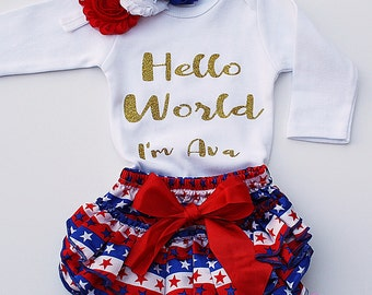 4th of July Baby Girl Outfits, Baby Girl Clothes, 4th of july baby clothes, 4th of july baby shower, Baby girl gift, 4th of july newborn