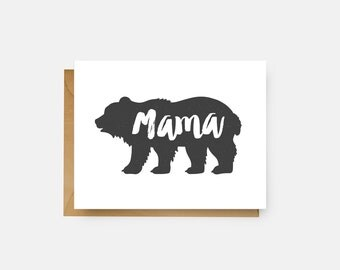 Mama Bear Card // Rustic Greeting Card // Mother's Day Card // The Busy Bee