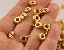 15pcs Gold Bail Links, 24K Matte Gold Charm Holders, (10mm x 7mm) Gold Ring Charm Holder, Metal Gold Charm Holder, Gold Bail Links / GPY-050