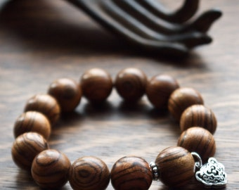 Men's wood bracelet | Protective mala beads | Gift for husband | Good luck bracelet | Chinese lock charm silver 925 | Asian bracelet for men