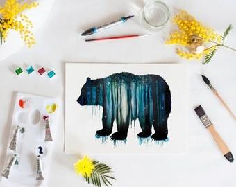 Bear art print, Forest, bear watercolour, illustration, animal art, bear wall decor, nursery art, grizzly bear, art print, nature, woods