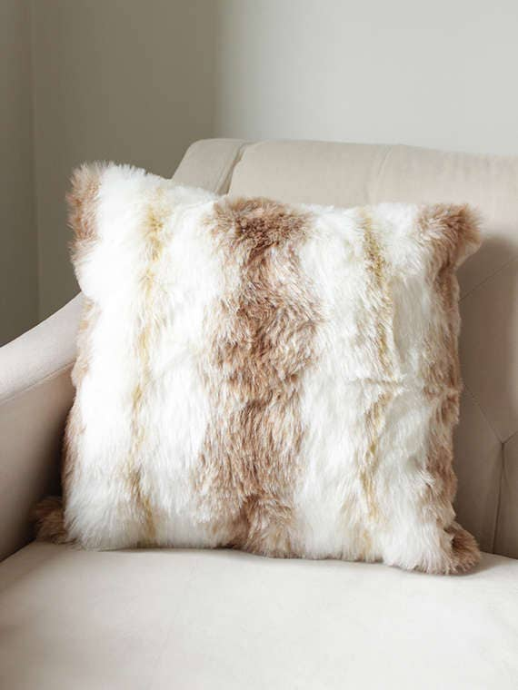 Fur Throw Pillow Covers : Faux Fur Throw Pillow Ivory & Tan Throw Pillow Cover