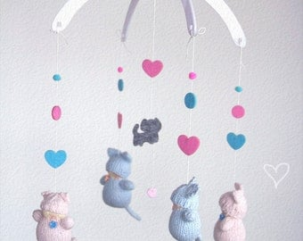 Waldorf Cat Babies Mobile. Knitted Nursery Mobile, Baby mobile, knit mobile, hanging mobile.