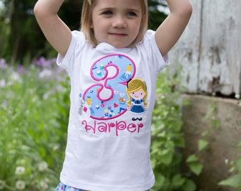 Alice in Wonderland Birthday Shirt with Number and Embroidered Name