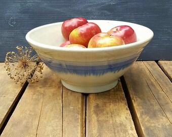 Primitive Farmhouse Banded Bowl, 12 Inch Rustic Stoneware Batter Bowl