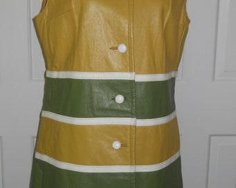 Vintage 1960's Leather Mini Dress / Free U.S. Shipping