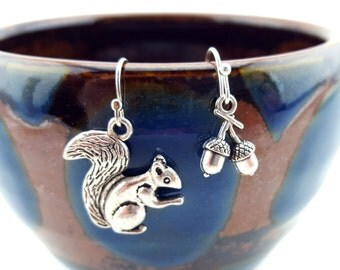 Squirrel earrings - squirrel jewelry - squirrel and acorn earrings - squirrels - acorns - mismatched earrings - unique earrings - fall charm