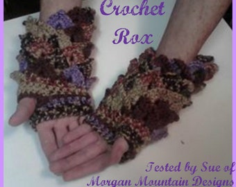 Crochet Pattern, Dragon Scale Reverse Mullet Fingerless Gloves,  Dragon Scale fingerless, Dragon scale stitch, crocodile stitch with a twist