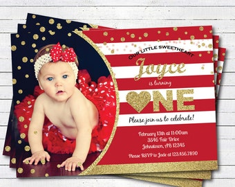 Valentine first birthday invitation. Red or Pink and gold glitter heart girl 1st birthday. Any age. digital printable photo invite. VKB01