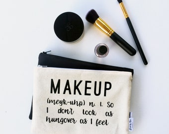 Canvas Makeup Bag - 21st Birthday Gift Ideas - Funny Gifts for Friends - Make up Bags - Birthday Gifts for Her