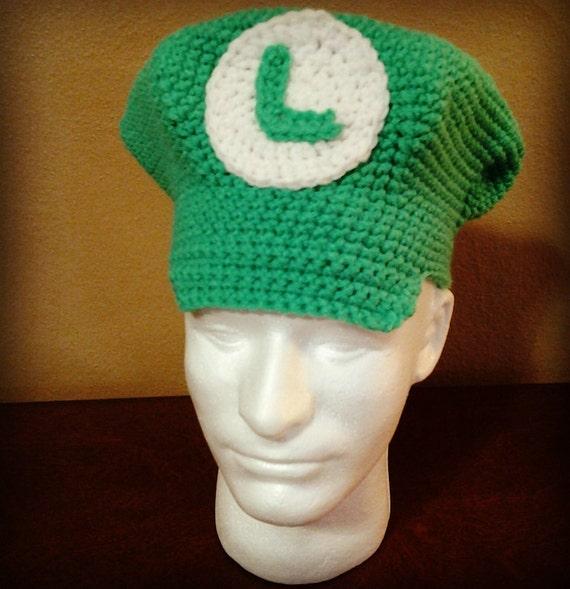 Free Crochet Pattern For Mario Hat : Luigi Crochet Hat/Luigi Hat/Luigi Newsboy Hat/Luigi