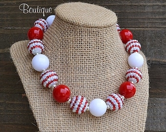 Red and White Bubblegum Necklace, Christmas Necklace, Chunky Necklace, Holiday Necklace, Children's Necklace, Girl's Necklace, BN68