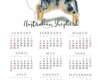 Australian Shepherd 2017 yearly calendar