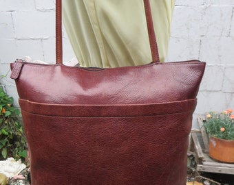 Leather Shopper Tote Glazed Whiskey Brown Large Satchel Bag Purse Handbag Satchel 1980s 1990s 90s 80s Vintage