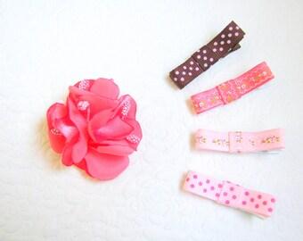 Baby hair clip set, Baby non-slip clips, Flower baby clips, Toddler hair clips, Flower hair clips, Dotted hair clips,  Gift for girls