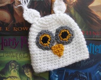 crochet Harry Potter Hedwig hat, Hedwig baby hat, Hedwig hat, handmade Hedwig hat, owl hat, snowy owl hat, Hedwig owl beanie Hedwig baby hat