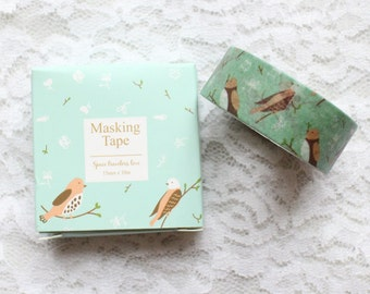 Bird Tape,Green masking tape, Washi Masking Tape,Craft Supply,Sticker Tape, stationery