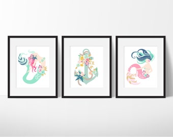 Mermaid Bathroom Art   Girls Bathroom Art   Pink Mermaids   Girly Bathroom  Art   Anchor