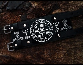Ginfaxi -Gapaldur, Victory in battle - Strength and Courage ,  Viking bracelet, Viking leather wristband ,Viking leather cuff,