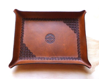 Cognac Brown Leather Tray | Leather Catch-all Tray | Leather Valet | Handmade in Australia