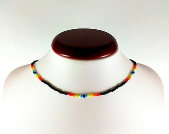Gift|for|girlfriend Boho beaded choker necklace Multicolored choker Bohemian choker Hippie choker Seed bead choker Colorful choker for her