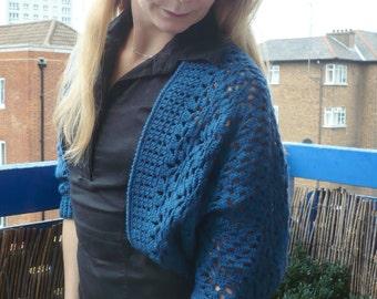 Teal Shrug Bolero Cardi Hand Crocheted Women Ladies Teens Size S/M Wool Blend