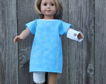 Hospital Gown-Leg&Arm Cast for American Girl Doll ,American Girl Doll Clothes,Doll Accessories,Girl-Kids,Dolly and Me,18 inch Doll