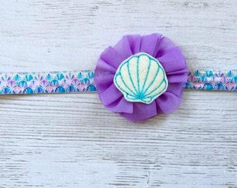 Seashell headband, seashell bow, shell headband, summer headband, beach headband