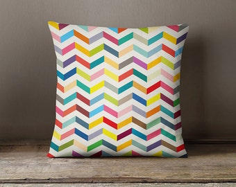 Geometric pillow cover with colourful chevrons, decorative pillow, geometric pillow cover,modern cushion,decorative pillow,accent pillow