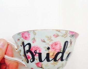 Bride Tea cup & Saucer | Bride Teacup | Bride Cup | Personalized Tea Cup | Blue Tea cup | Bridal Brunch | Bridal Tea Party