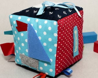 Fabric Baby Block, Sensory Toys, Montessori Baby, Nautical,  Teething Ring,  Baby Shower, Nautical Baby Gift, Baby Cube