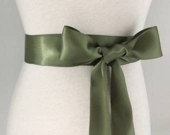 1.5 Inches Plain Sash-Olive Green Sash-Flower Girls Sash-Bridal Sash-Bride Sash-Bridesmaid Sash-Wedding Sash Belt-Double Sided Satin Sash