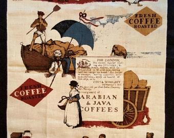 Coffee, Java - Vintage Tea Towel - 100% Linen - Never Used