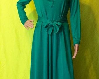 1970s Green Maxi Dress, M-L