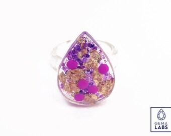 Designers Drop Ring - Gold/ Purple deepness