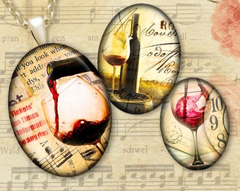 Old Red Wine - 30x40, 22x30, 18x25, 13x18mm ovals - Printable Digital Downloads - Collage Sheet for Pendants, Cabochons, Cameos, Crafts