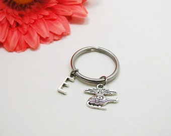 Helicopter Keychain - Helicopter Key Chain - Initial Keychain - Personalized Keychain - Initial Key Ring - Silver Helicopter Key Ring