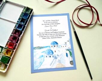 Illustrated Wedding Venue Invitation - Custom wedding invitations - Greece wedding - Santorini wedding - Watercolor wedding invitation